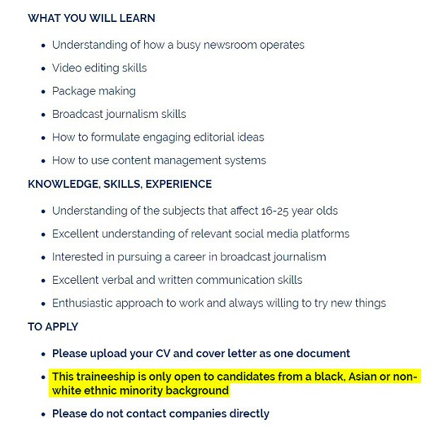 The job advert from Creative Access that says it is only open to those from non-white ethnic minority backgrounds