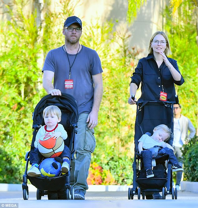 Family fun day! Lara and Sam were proud to step out with their two young sons Rocket, two, and Racer, one, for a fun-filled day at Universal Studios, Los Angeles last week