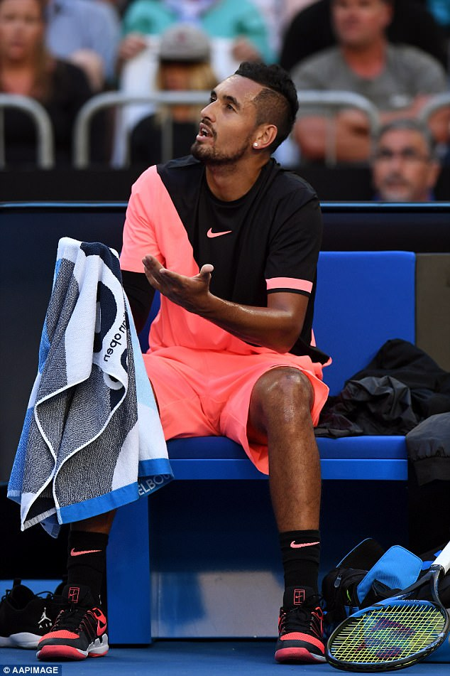 Kyrgios has also racked up tens of thousands of dollars in fines for swearing - most recently on Monday for telling a rowdy fan to 'shut the f*** up'