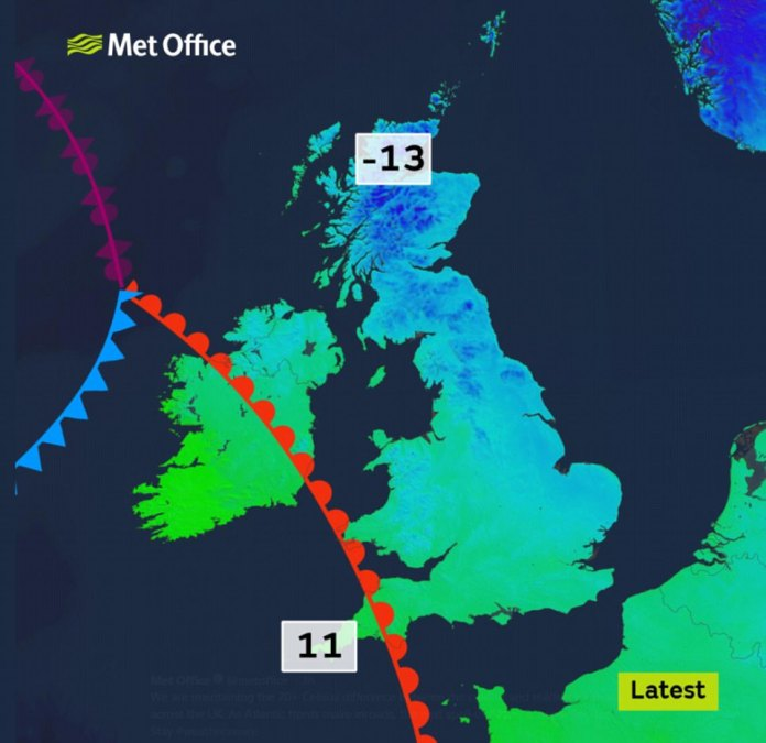 Temperatures plummet in the Scottish Highlands, while a warm weather front could signal an improvement in conditions in southern England
