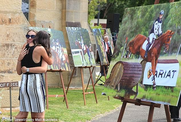 Posters showing Olivia Inglis competing in riding competitions were displayed at her funeral