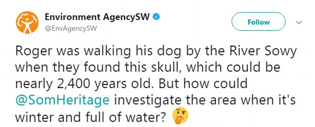 'Roger was walking his dog by the River Sowy when they found this skull, which could be nearly 2,400 years old', the Environment Agency tweeted