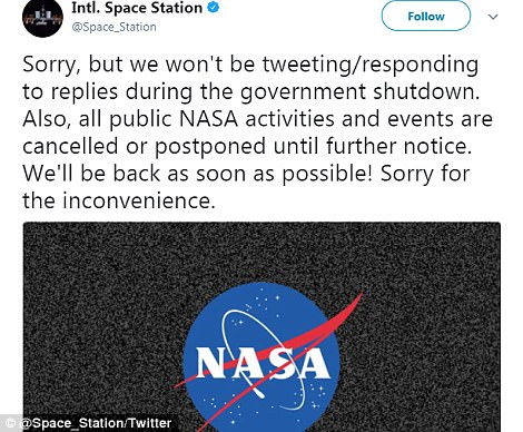 NASA, the Justice Department and the Bureau of Alcohol, Tobacco, Firearms and Explosives, are just a few federal agencies who have tweeted that their accounts wouldn't be updated until the government shutdown is resolved. Additionally, some of NASA's day-to-day operations have been put on hold, which has affected launch schedules for companies like SpaceX.