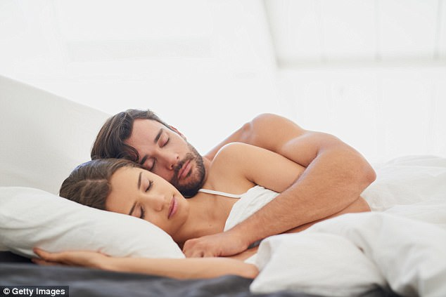 On the move: Couples who spoon are the least likely to maintain the position through the night, with more than a third turning away
