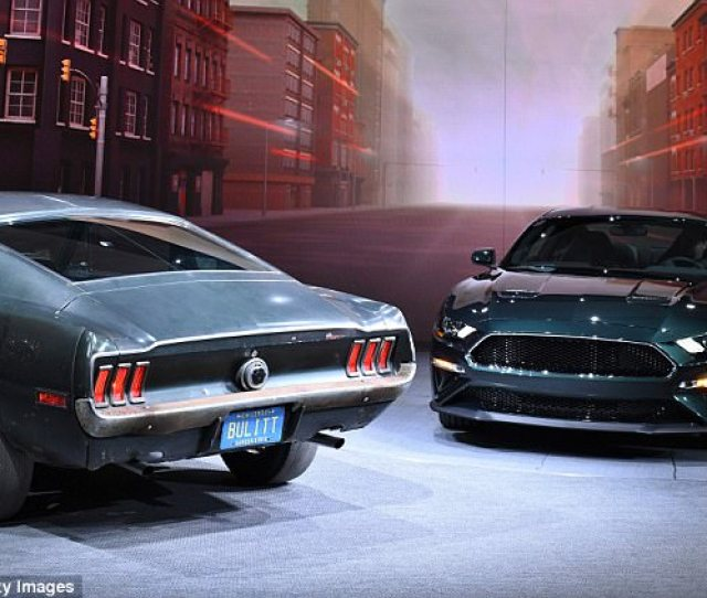 The Mustang Left Is Painted In Fords Custom Highland Green And Boasts