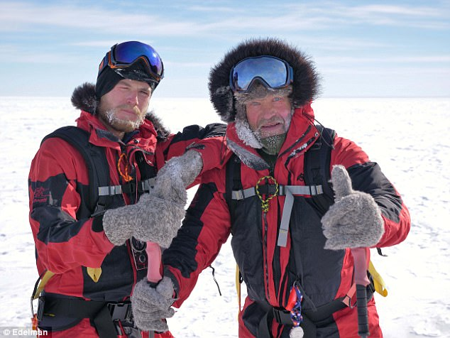 Robert (right) became the first person in history to walk both the North and South Poles, in 1989, and was joined by his son Barney (left) for his latest expedition