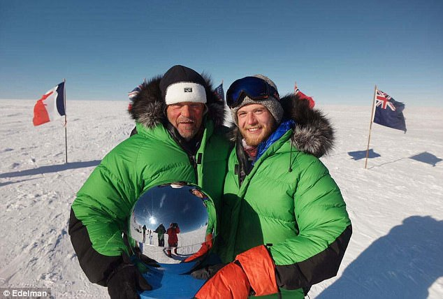 Robert Swan (left), 61, who in 1989 became the first person in history to walk to both the North and South Poles, made it to Earth's southernmost point again with his son Barney (right), 23