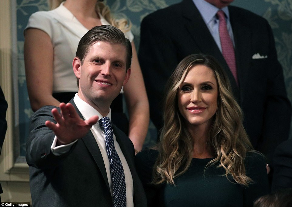 Eric Trump and Lara Trump (pictured) attend the State of the Union address in the chamber of the US House of Representatives