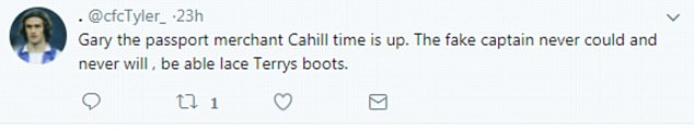 Cahill was called a 'fake captain' and 'passport merchant' by this football fan