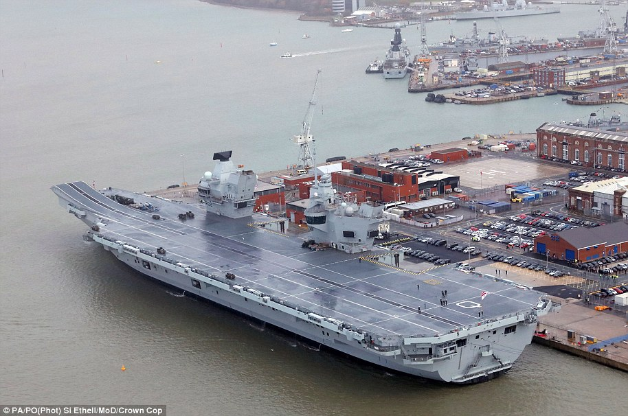 HMS Queen Elizabeth, pictured,  weighs some 65,000 tonnes and has a top speed of 25 knots and a four-acre flight deck