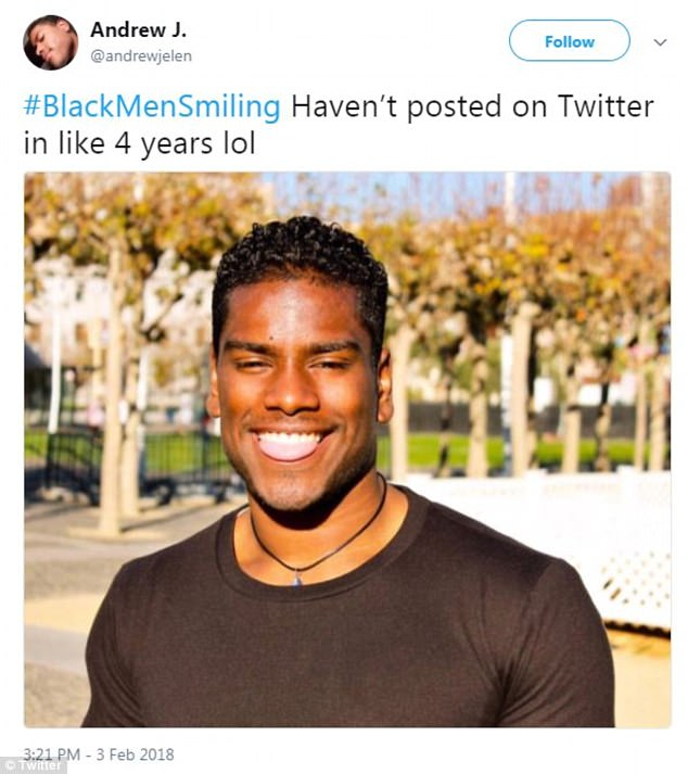 '#BlackMenSmiling Haven't posted on Twitter in like 4 years lol,' shared user Andrew Jelen posting a picture with his tongue out