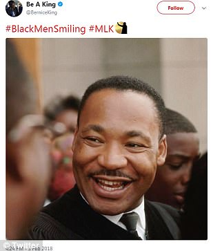 Bernice King, the daughter of civil rights activist and icon Martin Luther King Jr, posted a photo of her father smiling