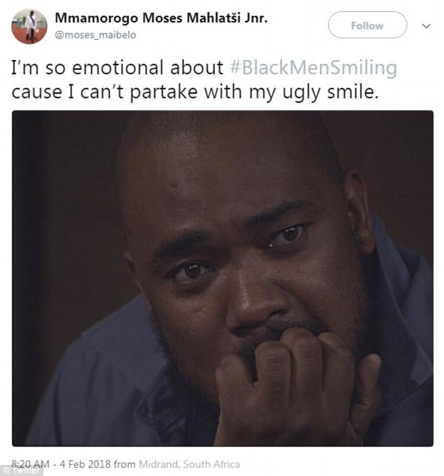 A different user added: 'I'm so emotional about #BlackMenSmiling cause I can't partake with my ugly smile'