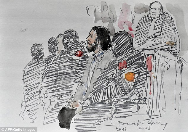 A courtroom sketch shows Salah Abdeslam (centre) prior to the opening of his trial at the Palais de Justice