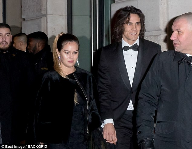 Edinson Cavani was another PSG player to attended the star-studded celebrations
