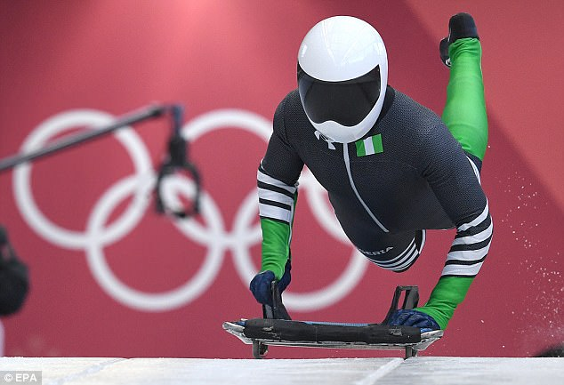 Incredible: Simidele Adeagbo of Nigeria in action during Women's Skeleton training at the Olympic Sliding Centre during the PyeongChang 2018 Olympic Games
