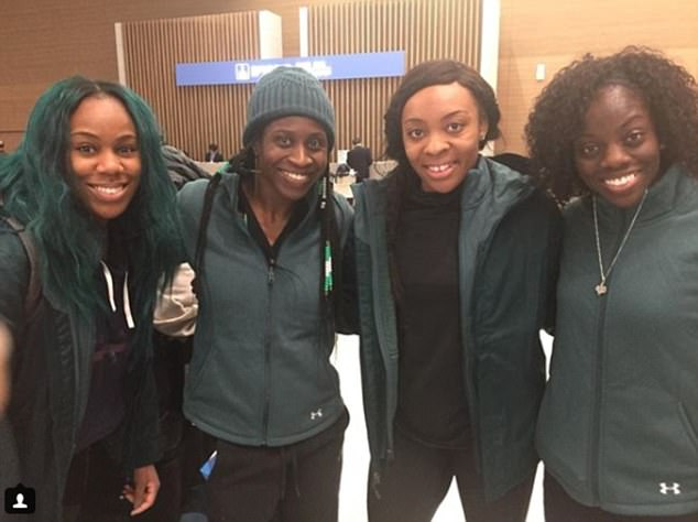 Sleigh girls, sleigh: This photograph, posted on Instagram by skeleton competitor Simidele Adeagbo, show the NIgerian athletes arriving in South Korea