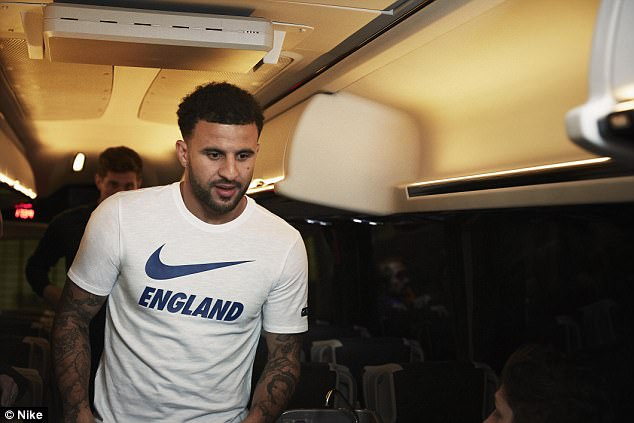 Kyle Walker models a T-shirt as part of the casual wear from the collection pack