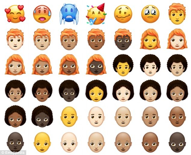Although there are only 66 new emoji, some of them have more than one skin tone option, leading to a total of 157 new emoji versions. The new emoji also include hot and cold faces, as well as party, woozy and pleading faces (top line)