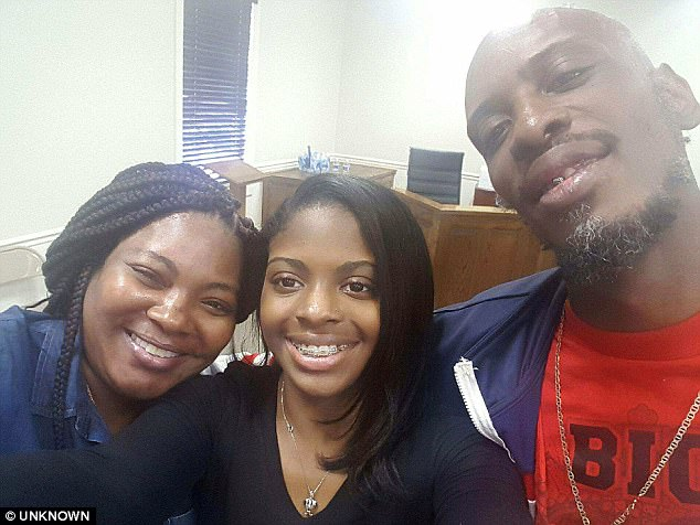 The teen first met her biological parents when Shanara Mobley and Craig Aiken, who had separated after the abduction, raced to see her following Williams' arrest (above)