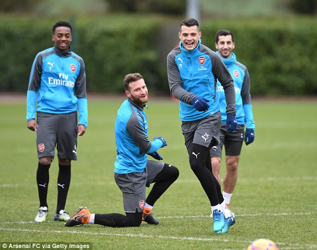 Aubameyang was not the only Gunners star who looked relaxed ahead of the game with Spurs