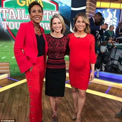 In red again: On GMA with her co-stars in December