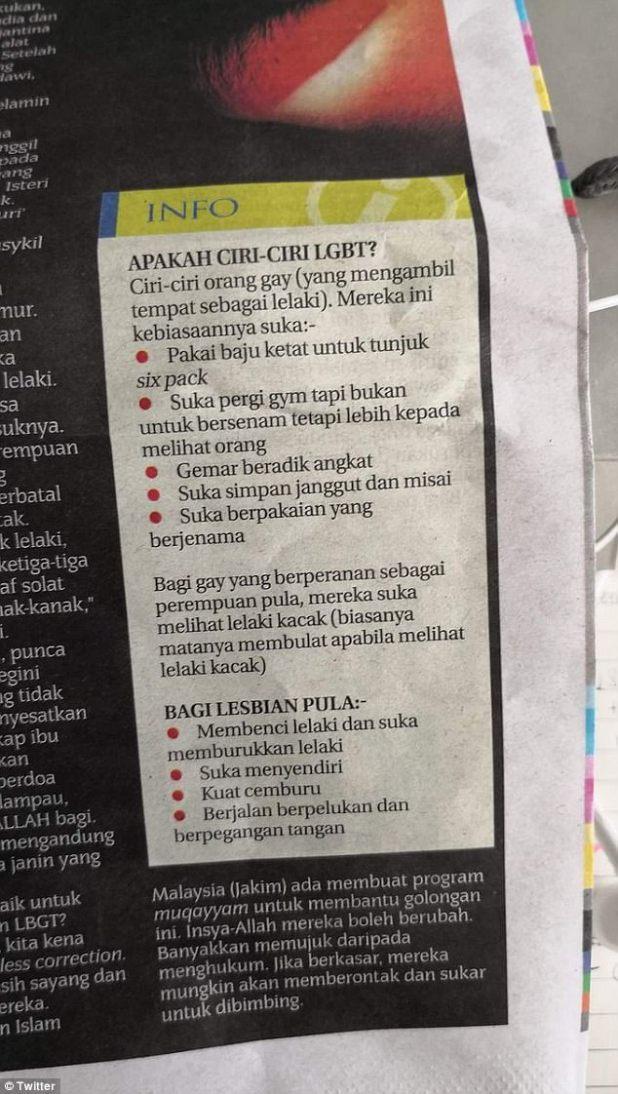 Un importante periódico de Malasia publicó una guía sobre cómo identificar a personas gay y lesbianas, lo que generó críticas de los activistas que dicen que la lista pone en riesgo vidas