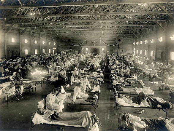 Spanish Flu resulted in the deaths of an estimated three to five per cent of the world's population, making it one of the deadliest natural disasters in human history. This image shows soldiers from Fort Riley, Kansas, ill with the virus