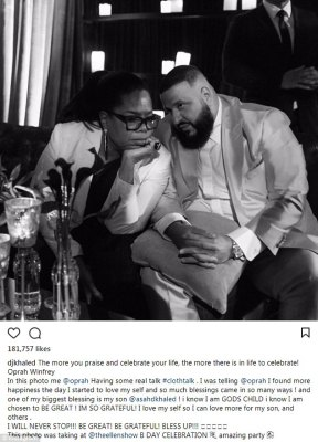 Counting his blessings: DJ Khaled, who has just been named as a Weight Watchers ambassador, chatted with Oprah Winfrey who has represented the brand since 2015