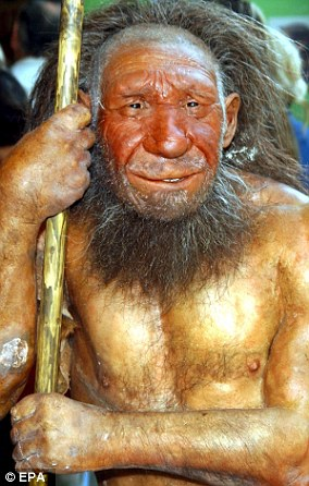 It represents a recreation of a Neanderthal man.