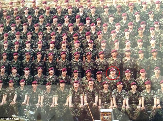 Domeney (circled) signed up to the Army in 1985 and became a Warrant Officer Sergeant Major, touring Iraq and Afghanistan as well as serving in Northern Ireland