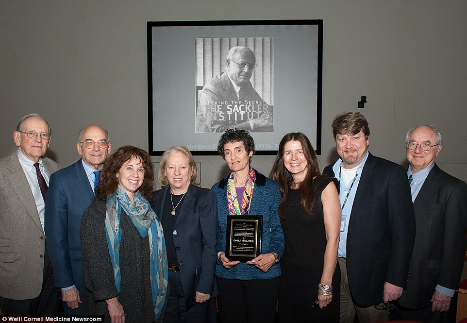Dr Kathe Sackler and her wife, Susan Shack Sackler (fourth and third from left, respectively) are well-known for their philanthropic efforts; Kathe is the second daughter of founding brother Mortimer and was also listed as a Napp director as of December 2016