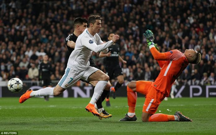Areola's head snaps back owing to the sheer force with which Ronaldo struck his shot, but managed to keep it out