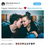 Young Love: Stranger Things Star,Millie Bobby Brown Sends Valentine Message to Boyfriend