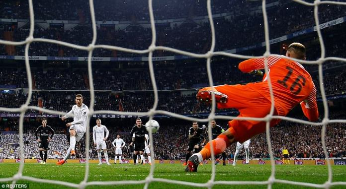 But Ronaldo offered his side a lifeline when he rattled the back of the net with this penalty, which caused controversy