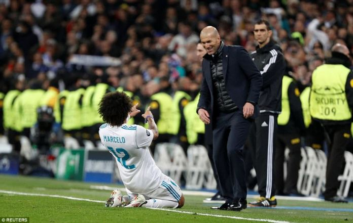 Then Marcelo added an all-important third goal in the 86th minute to give Zinedine Zidane's side a crucial two-goal cushion
