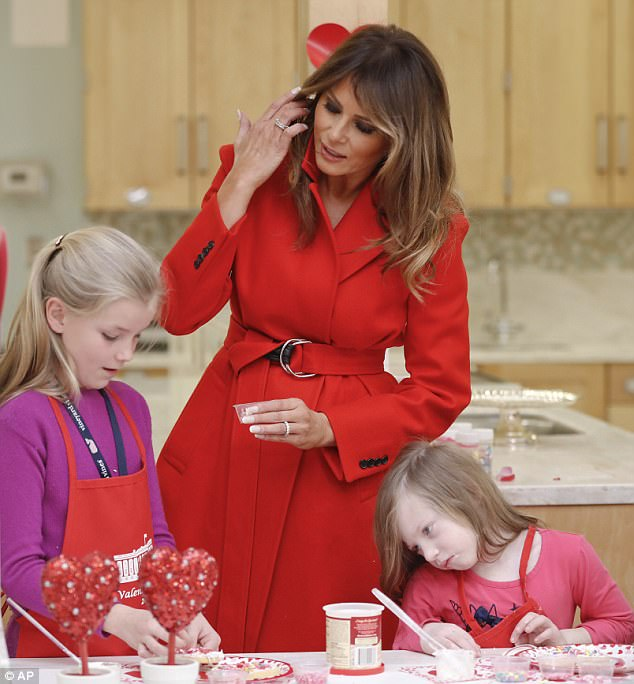 Melania Trump young patients at the Children's Inn at the National Institutes of Health in Bethesda, Maryland, on Thursday for Valentine's Day