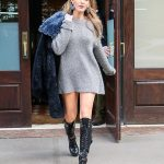 Blake Lively in £1615 Leather boots in NYC