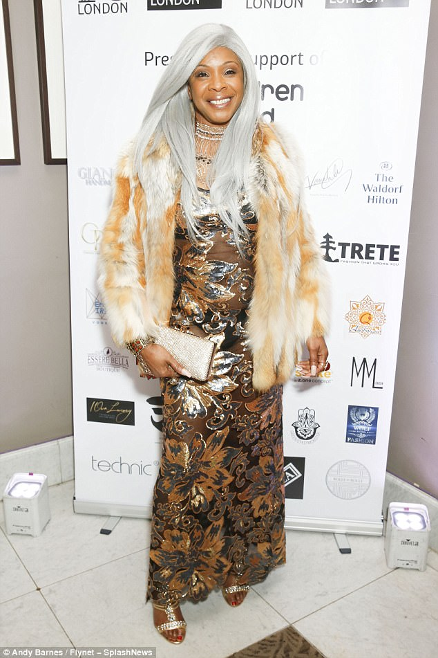 Eclectic: Also seen at the party was Gogglebox star Sandi Bogle, 52, who donned a platinum wig to go with her typically outlandish style sense