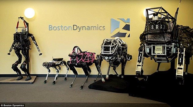 Meet the family: The new SpotMini (second from left) next to the firm's other machines.