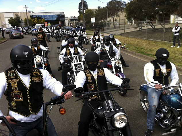 Comanchero bikies make their annual run from Milperra to Palmdale Cemetery to visit graves of their brothers killed in the Father's Day massacre of 1984