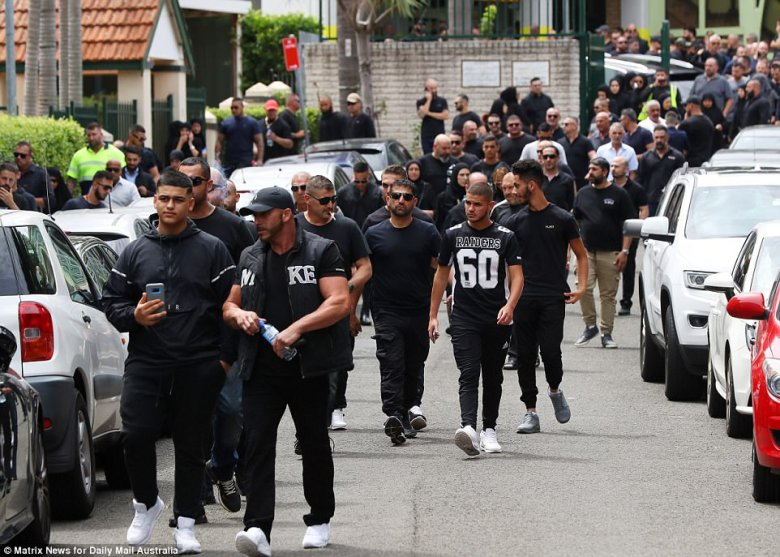 Many appeared moved by the service held for the former Comanchero president