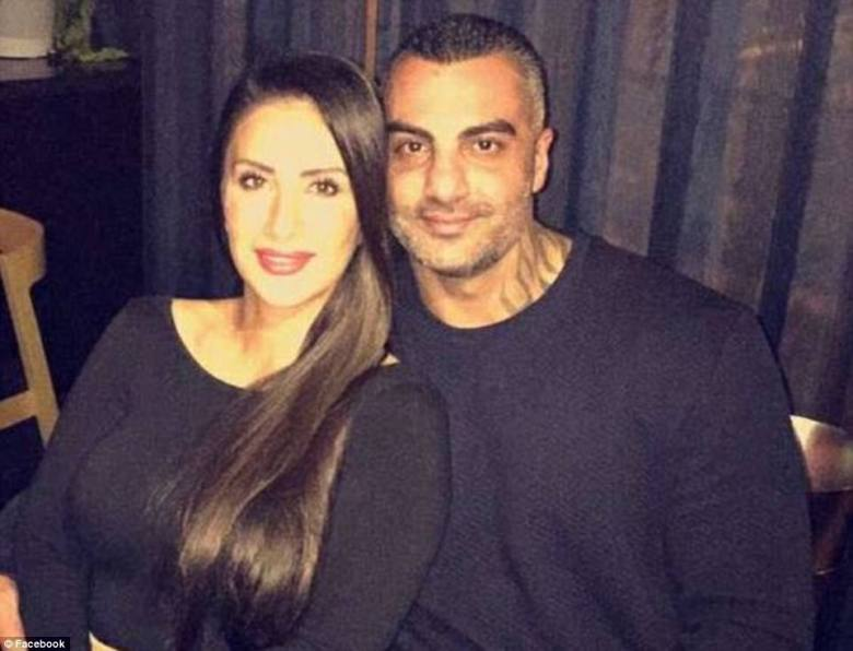 Slain bikie Mick Hawi pictured with wife Carolina - the Comanchero bikie boss' funeral was held on Thursday
