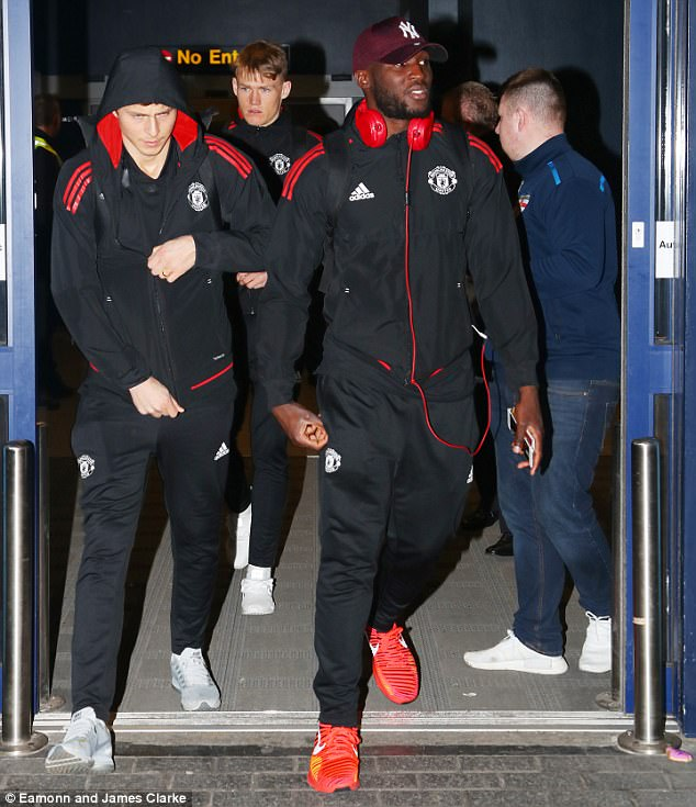 It was another tough night for Romelu Lukaku (right), as he exits with Victor Lindelof (left) and Scott McTominay (back)