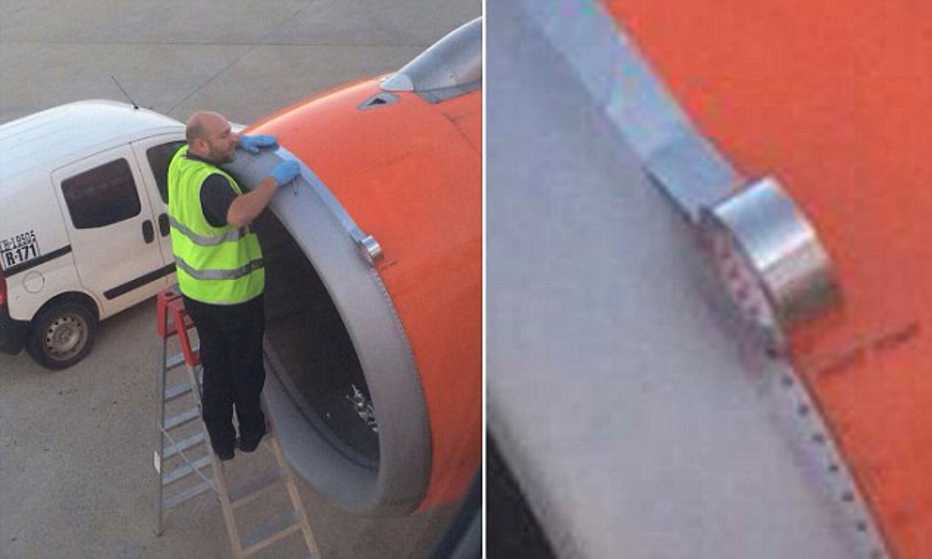 Easyjet Passenger Takes Photo Of Worker Using Tape On Plane Engine