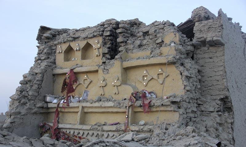 The rubble of a house is seen after it collapsed following the quake in the town of Awaran, southwestern Pakistani province of Baluchistan, September 25, 2013. — Photo by Reuters