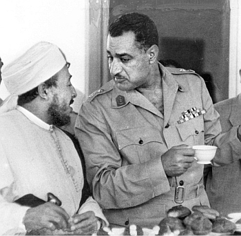 Arab  nationalist Gamal Nasser (right) talks to a member of the Muslim Brotherhood soon after taking over power in Egypt in 1952. After falling out with Nasser, the Brotherhood attempted to assassinate him. Nasser ordered a brutal crackdown against the outfit's leaders and members that only ended after his death in 1970.