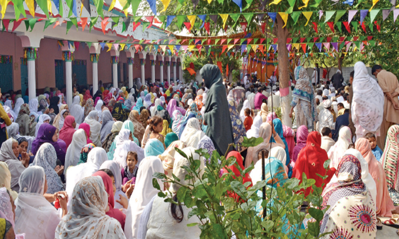 Women gathered at Mai Sahiba shrine