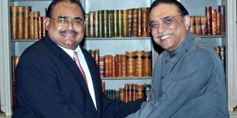 """Zardari said MQM was going through a """"difficult time"""" and vowed not to leave it alone in these """"times of trouble.""""- APP/File"""