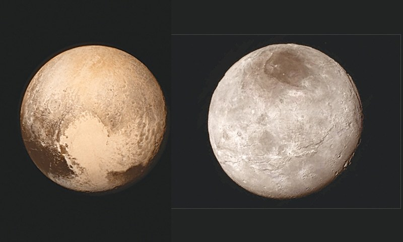 THESE images provided by Nasa show Pluto 9 (left) and its largest moon Charon as seen from the New Horizons spacecraft.—AP